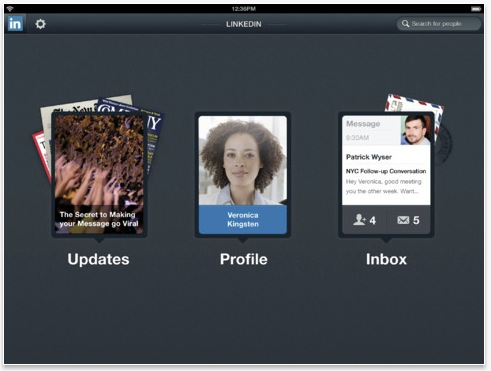LinkedIn iPad app dashboard