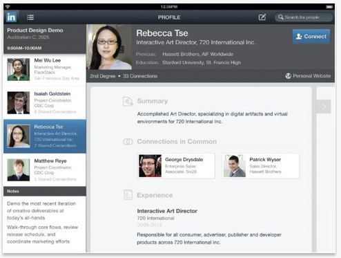 LinkedIn iPad app calendar screen