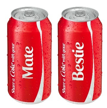 Mate and Bestie Coke cans