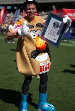 Fastest marathon dressed as Mr Potato Head