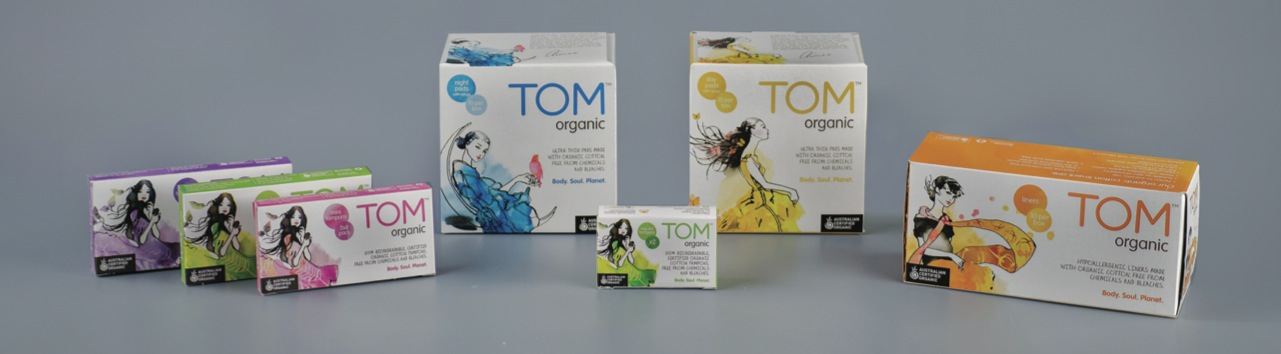 TOM Organic products packs