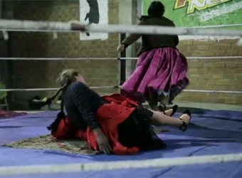 Schweppes content play: Bolivian female wrestlers and 96% liquor cocktail