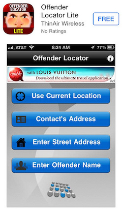 Sex offender app showing Louis Vuitton ad placement fail