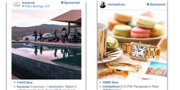 Lexus and Michael Kors Instagram advertisements
