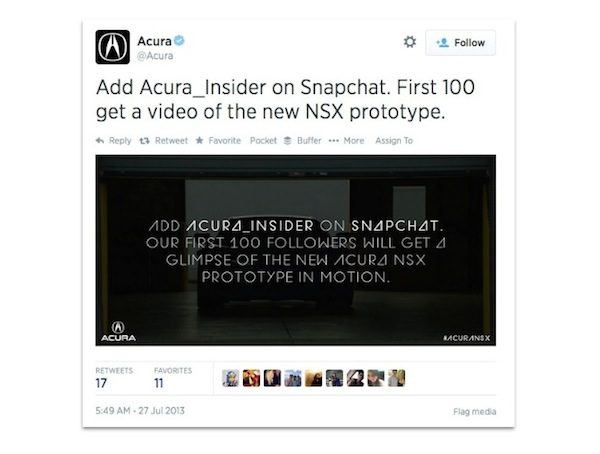 Acura tweet about Snapchat