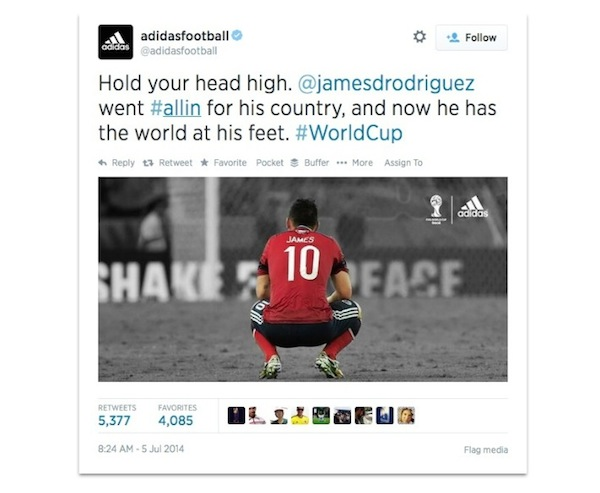 Adidas tweet James Rodriguez