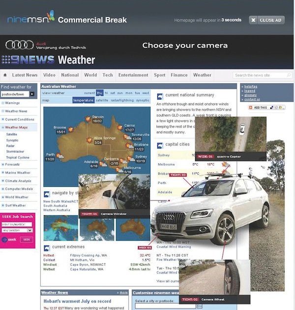 Audi Land of Quattro digital marketing Ninemsn rich media takeover 600w