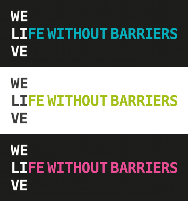 Life Without Barriers rebrand logo three colours