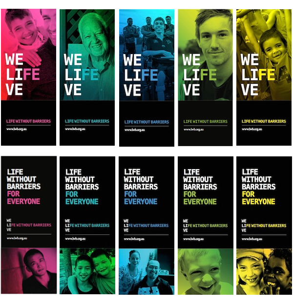 Life Without Barriers rebrand banners