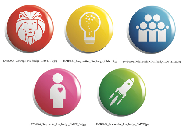 Life Without Barriers rebrand logo button badges of values