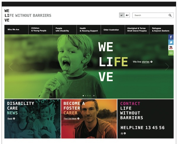 Life Without Barriers rebrand website