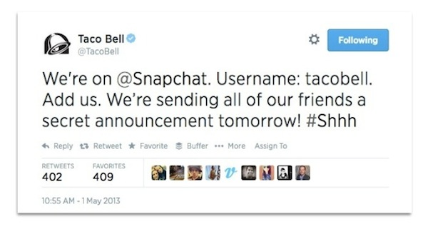 Taco Bell tweet about Snapchat