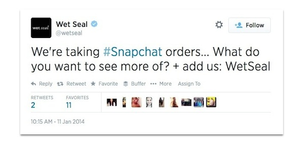 Wet Seal tweet about Snapchat