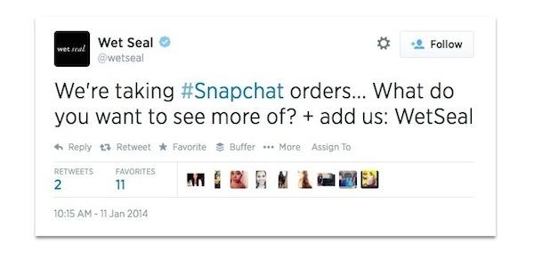 Wet Seal tweet about Snapchat