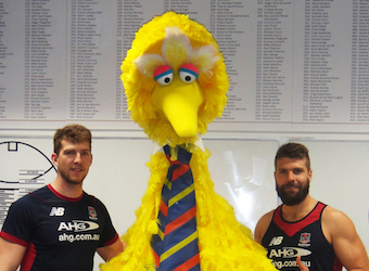 Big Bird joins the Melbourne Football Club in AFL merchandise partnership