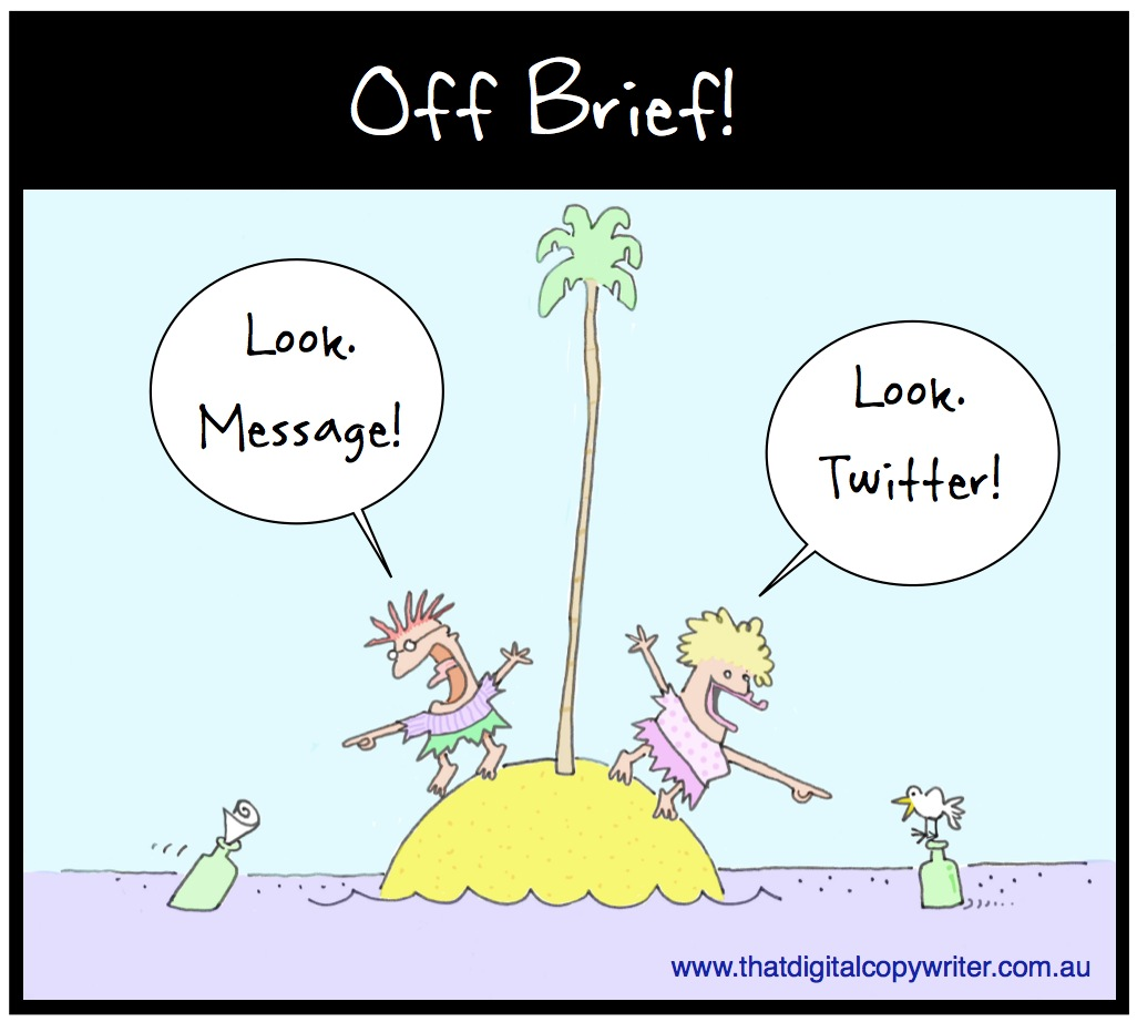 Off brief cartoon desert island twitter message