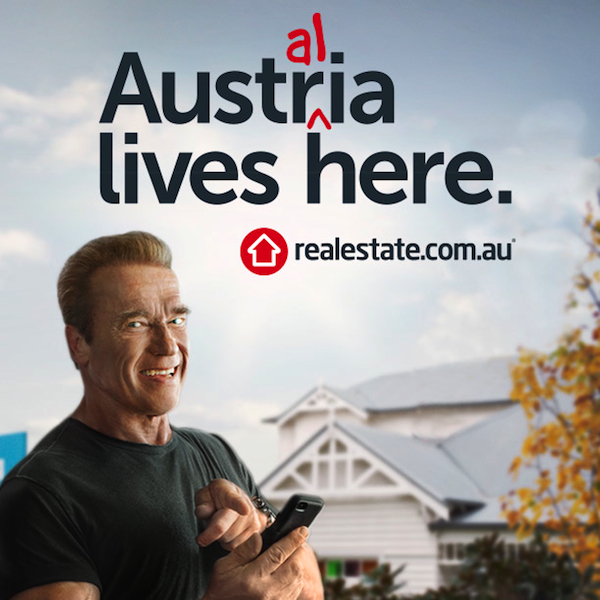 Arnold Schwarzenegger is starring in realestate.com.au's new TVCs for brand campaign on a high-impact media schedule