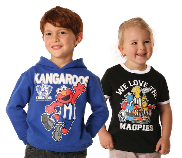 Kids wearing Sesame Street AFL gear