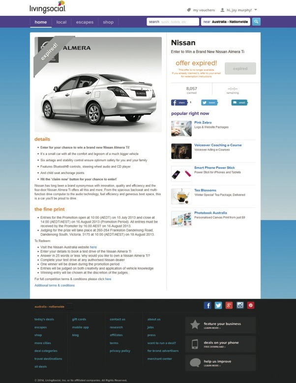 Nissan Almera Living Social daily deals car website