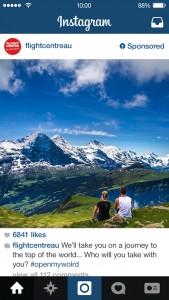 flight centre sponsored instagram post