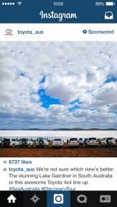 toyota instagram sponsored post