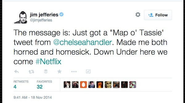 Jim Jefferies Netflix Down Under tweet