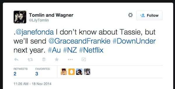 Lily Tomlin Netflix Down Under tweet