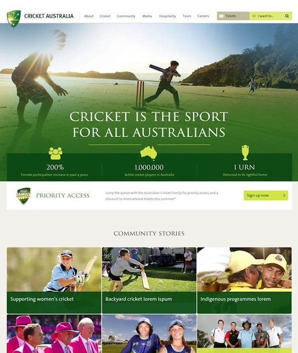 Cricket Australia new corporate site