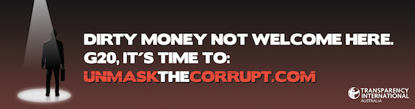 Transparency International Unmask The Corrupt banned advertisement