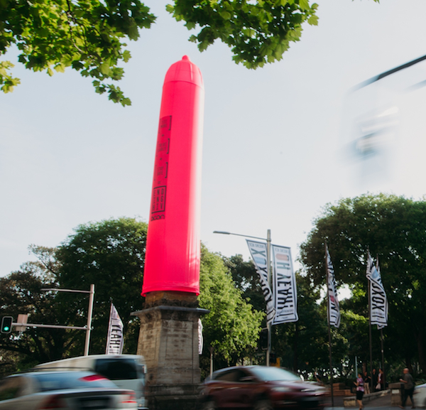 condom on statue