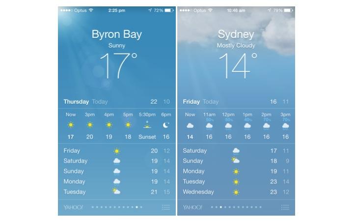 Apple Weather app sun and clouds