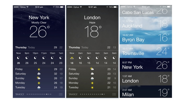 Apple weather app screens
