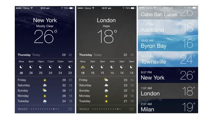Apple weather app screens
