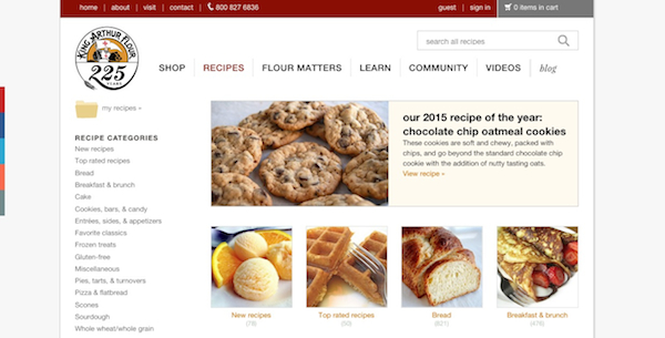 king arthur flour screenshot