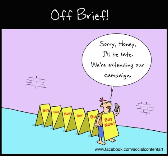 Best practice guide to sandwich-board marketing – cartoon