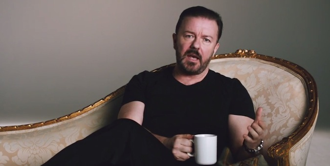 Ricky Gervais reluctantly promotes Optus Netflix deal