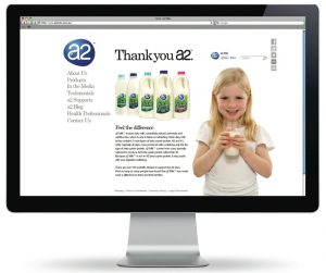 A2 Milk website screenshot