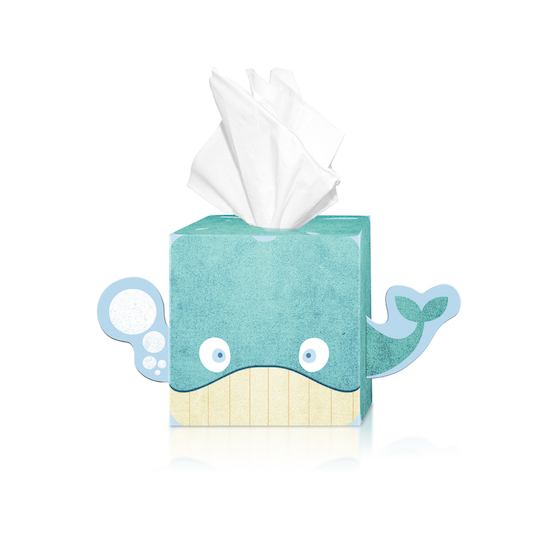 Tesco Kid's Tissues by Pemberton & Whitefoord (UK) whale packaging