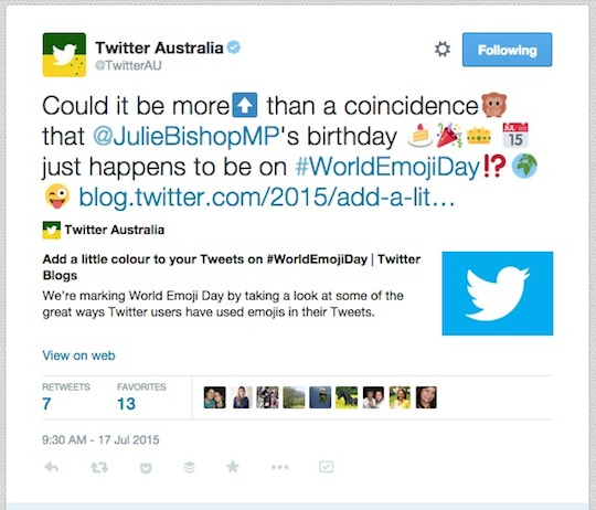 Twitter Julie Bishop World Emoji Day worldemojiday tweet 540w