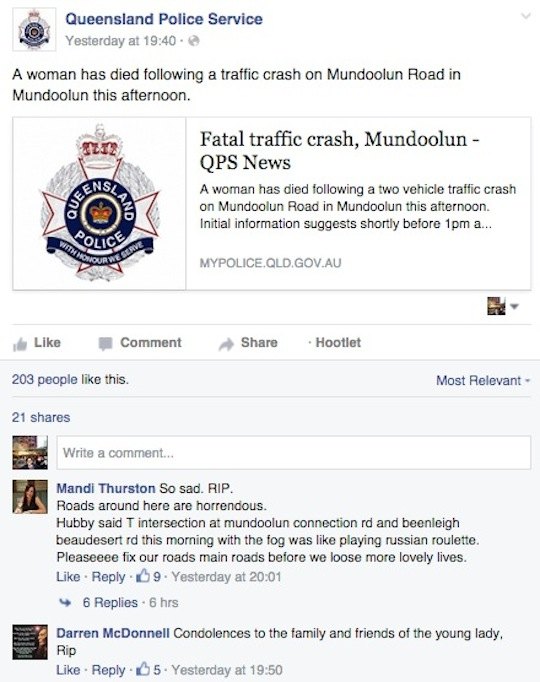 road fatality facebook post