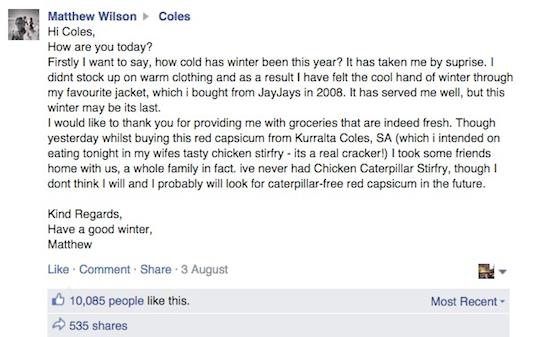 coles complaint