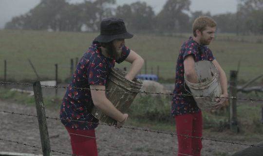 men with hands in buckets