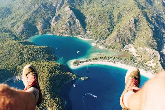 Point of view paragliding over Oludeniz Blue Lagoon. POV.