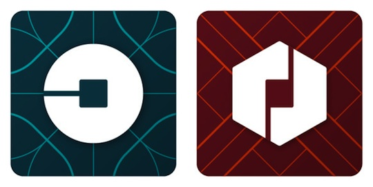 Uber's new icons for passengers (left) and partners (right)