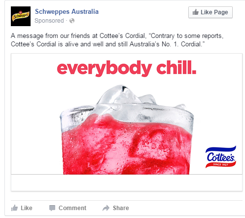 Cottees Schweppes just chill