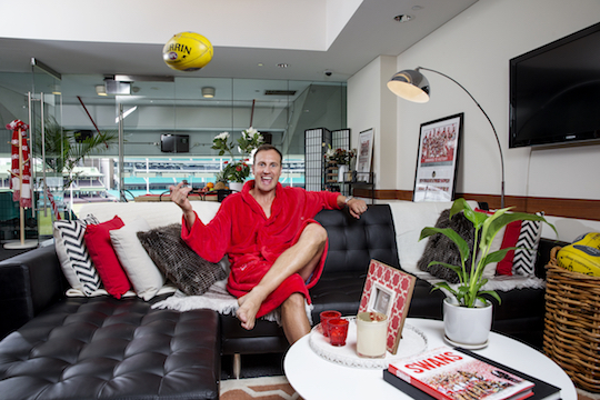 Former Swans premiership player Jude Bolton is pictured at the Airbnb suite at the Sydney Cricket Grounds. 31/3/2015 Picture James Horan