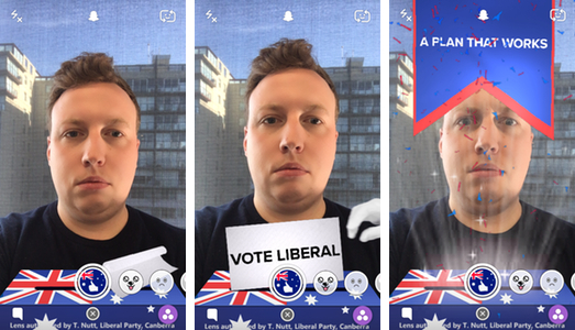Snapchat Liberal Party sponsored lens