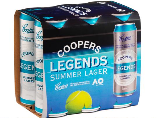 Tennis tinnies: Coopers launches Legends Summer Lager for Australian Open