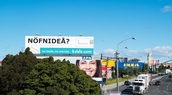 Koala Mattresses plants billboard in front of Ikea – 'NOFNIDEA?'
