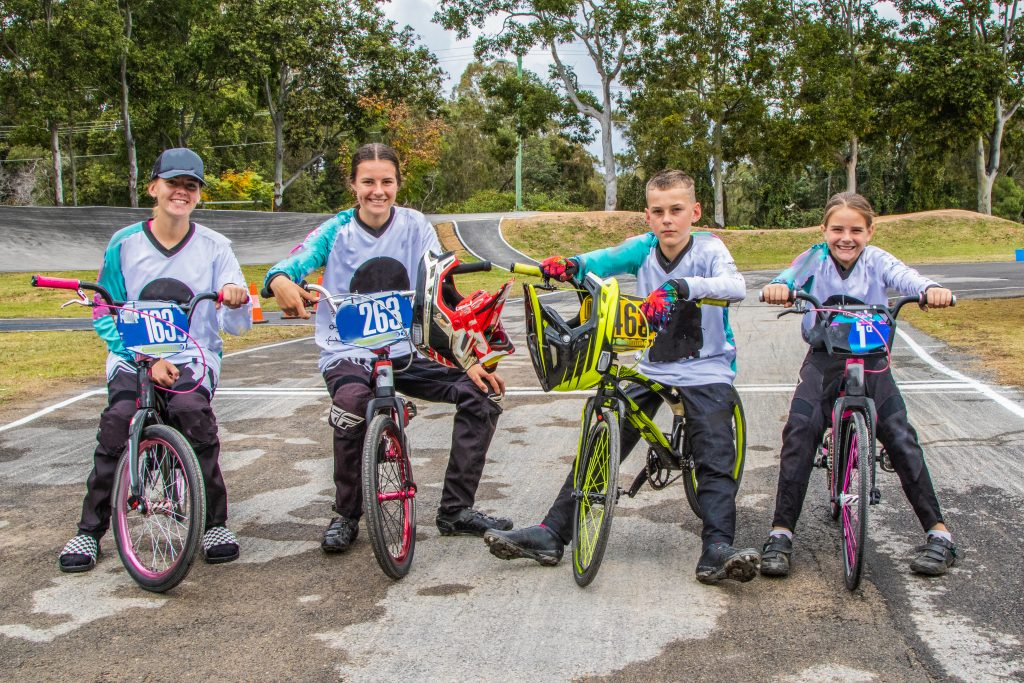 Four young people on BMX